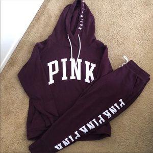 🖤Like New Maroon Victoria's Secret Pink Match Set
